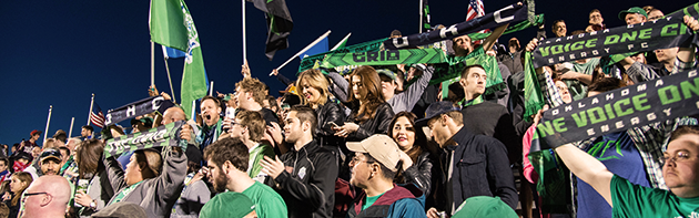Excited Crowd at Taft Stadium watching the Energy FC play soccer