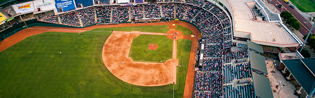 Aerial view of Chickasaw Bricktown Ballpark in Oklahoma City.