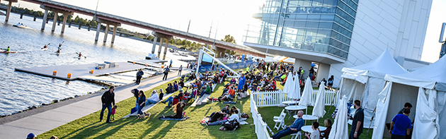 Image of people at the Oklahoma City Regatta festival at the Oklahoma River.