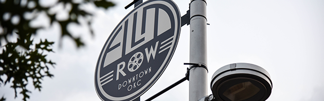 Image of the sign (reading: Film Row Downtown OKC) in the Film Row District in Oklahoma City.