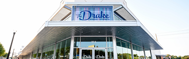 Image of the exterior of The Drake, a restaurant in the Uptown 23rd district of Oklahoma City.