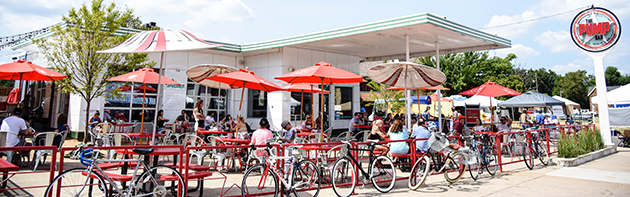 Image of the exterior of The Pump Bar in the Uptown 23rd District of Oklahoma City.