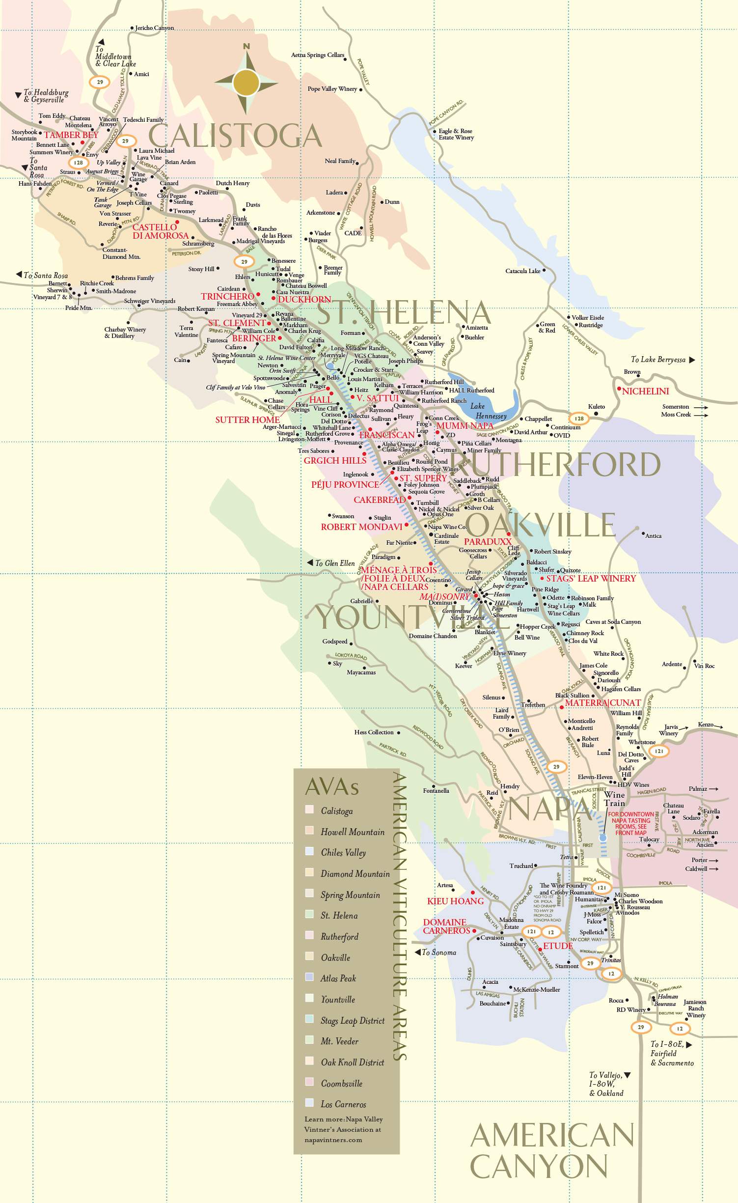 Napa Valley Winery Map