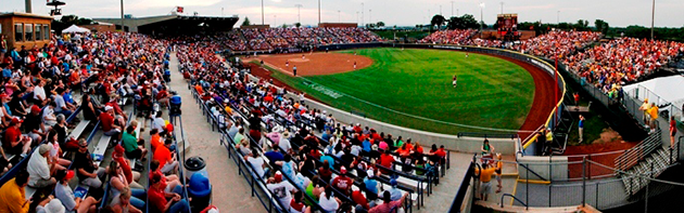 Image of the softball hall of fame stadium in the Adventure District of Oklahoma City.