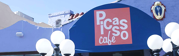 Image of the exterior of Picasso Cafe, a restaurant in the Paseo Arts District in Oklahoma City.