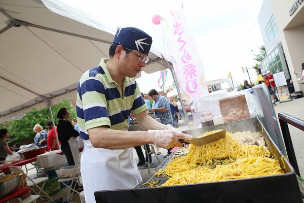 Fresh food being prepared at the Cherry Blossom Festival