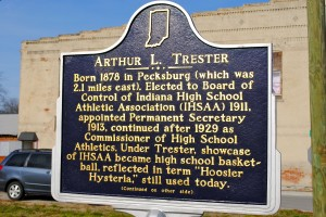"Arthur L. Trester, the ""czar"" of Indiana high school athletics, is memorialized in Amo, near his birthplace of Pecksburg."