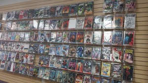 Floor to ceiling Comics line the sides of The Androids Dungeon