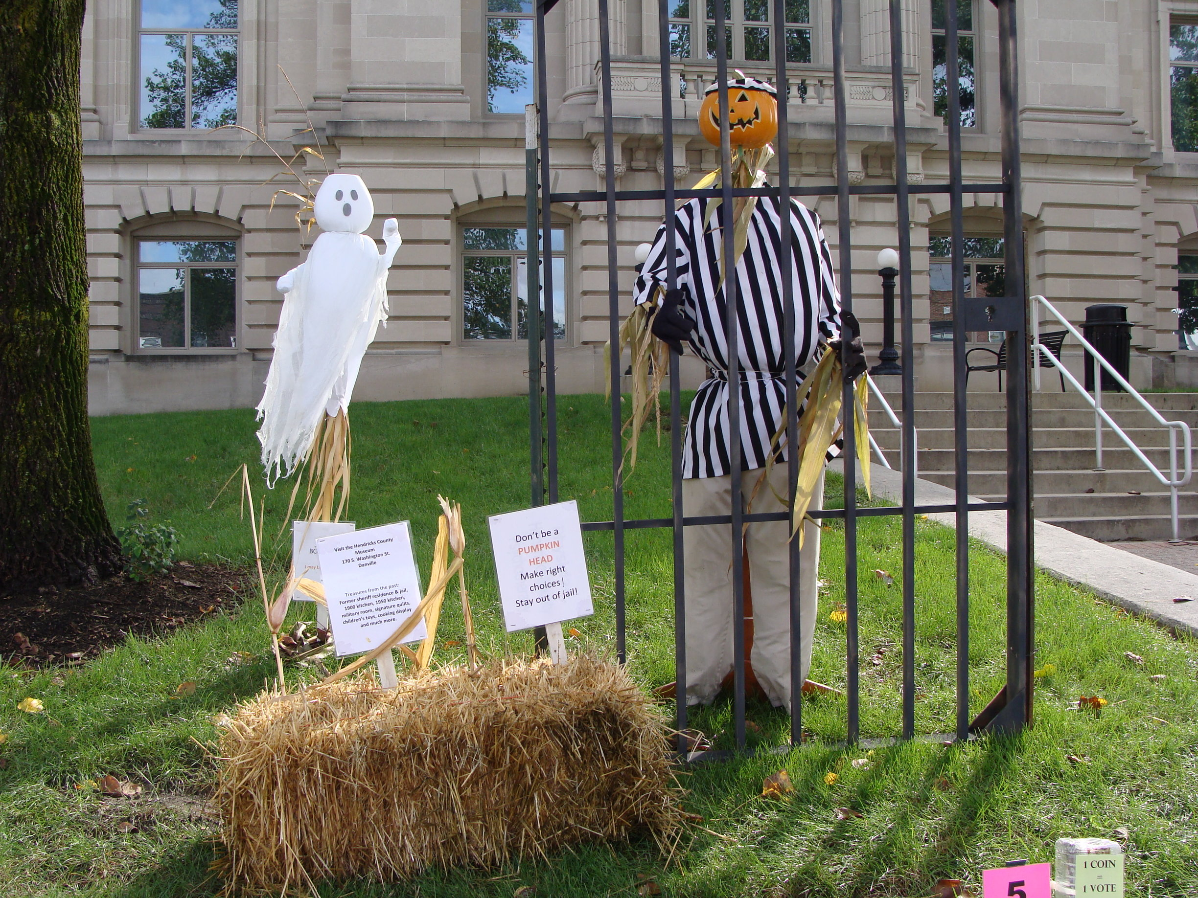 Scarecrows surround the Danville Courthouse Square.