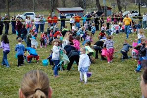 The Easter Egg Hunt at Ellis Park in Danville, Ind. is unique in that it serves children with special needs and it ends with a rubber ducky race.  (Photo courtesy of Kiwanis Club of Danville Facebook page.)