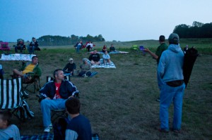 A park naturalist gives the crowd some tips for viewing the Perseid Meteor Shower at McCloud Nature Park.