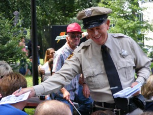 The Mayberry Deputy issuing 'citations'.