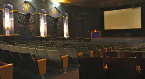 The historic Royal Theater with a stage up front is perfectly set up for both movies and live entertainment.