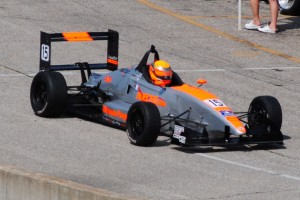 USF2000 cars hit speeds of about 110 mph on Lucas Oil Raceway during the Visit Hendricks County NIght Before the 500.