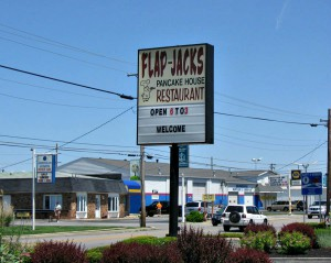 You can't miss the Flap-Jacks sign on Main Street in Brownsburg.
