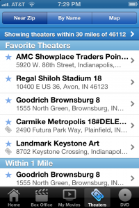 Flixster will help you find nearby movie theaters and showtimes. No need to save it for a rainy day!