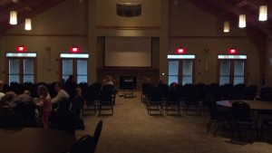 The room used for the film series is big, open, comfortable and set up for families.