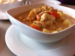You'll find a variety of dishes to tempt you at Thai Thai- like their Massaman Curry with chicken.