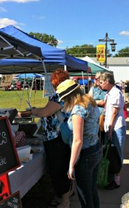 Fellow shoppers perusing the Brownsburg Farmers Market.