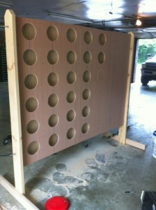 This 6-foot-tall Connect Four game during construction will be a prominent part of Game On! Downtown, June 22.