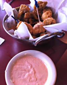 fried mushrooms with aioli dipping sauce