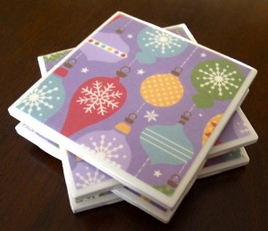 Holiday coasters by Michy Creations.