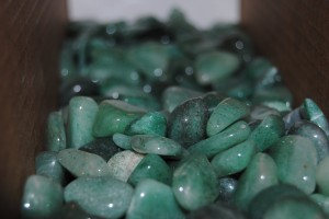 One of the many bins of polished rocks.