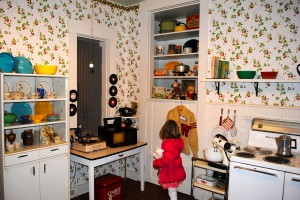 My daughter explores what used to be the Hendricks County Sheriff's kitchen.