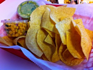 warm chips, corn salsa and guacamole