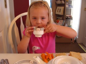 My daughter enjoying tea at The Porch.