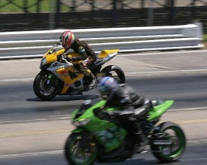 The No Hatin' Drag Racin' competitors hit ridiculous speeds on two wheels at Lucas Oil Raceway (photo courtesy of NHDRO Facebook page)