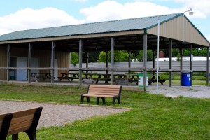 This shelter at North Salem Community Park houses plenty of picnic tables, modern bathrooms, lights and a grill.