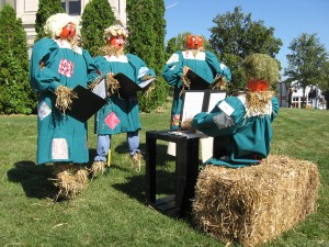 Scarecrows take over the Hendricks County Courthouse Square in October.
