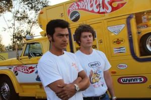 Jesse Williams (left) and Richard Blake on the Snake & Mongoo$e set. (Photo courtesy of Entertainment Universe)