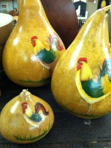 Painted gourds for sale at Homestead Primitives in Martinsville, Indiana