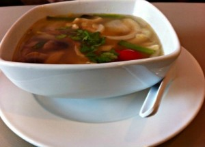 Tom Yum soup (hot and sour soup with lemongrass and vegetables