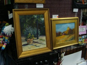 Paintings available for purchase at the Art Sanctuary