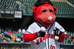 Rowdie, the Indianapolis Indians' mascot, loves to entertain kids.