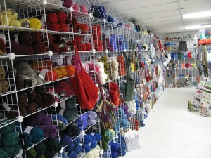 A wall of wool yarns at Sheep Street Fibers.