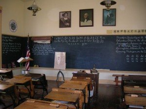 Everything inside the One Room School is authentic and fits the period.