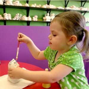 My focused little painter.