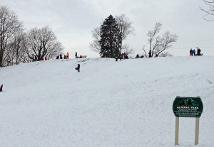The Hummel Park hill in Plainfield can handle a lot of sledders at once.