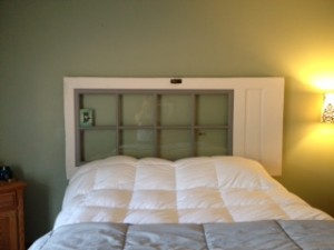 Door Repurposed as Headboard
