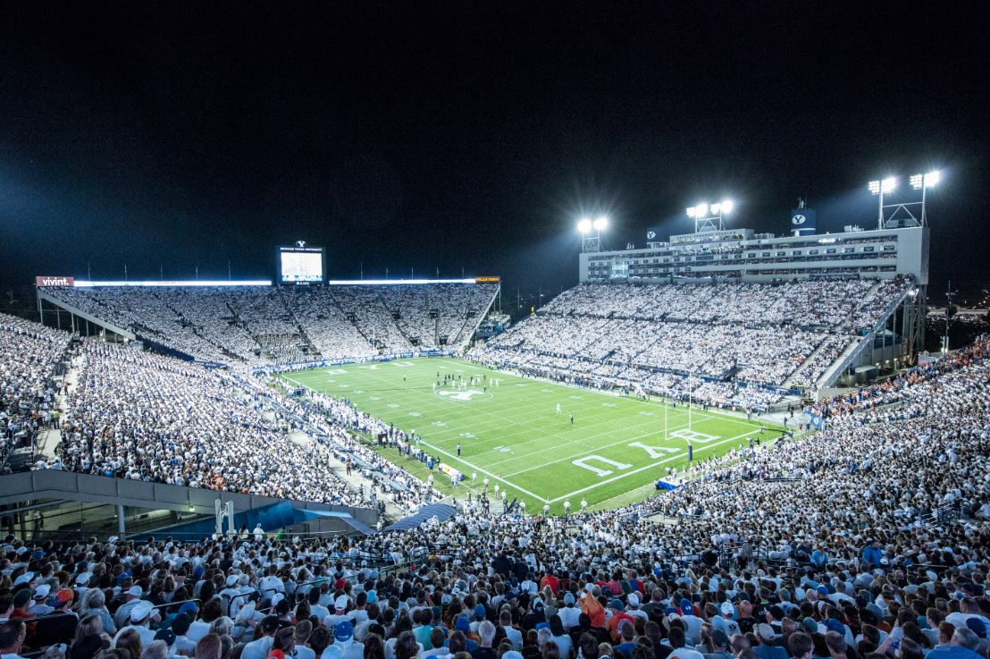 BYU Football at night