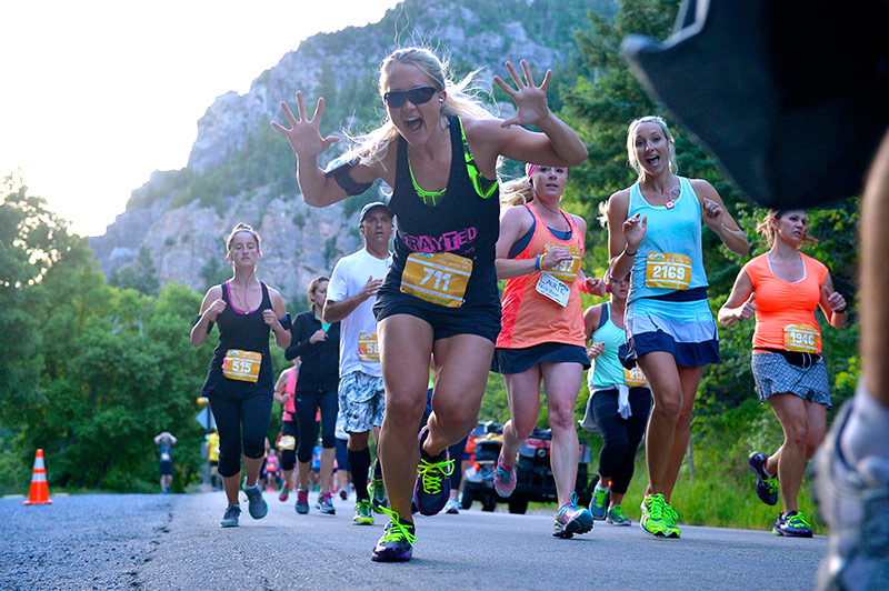 People running a race in American Fork Canyon