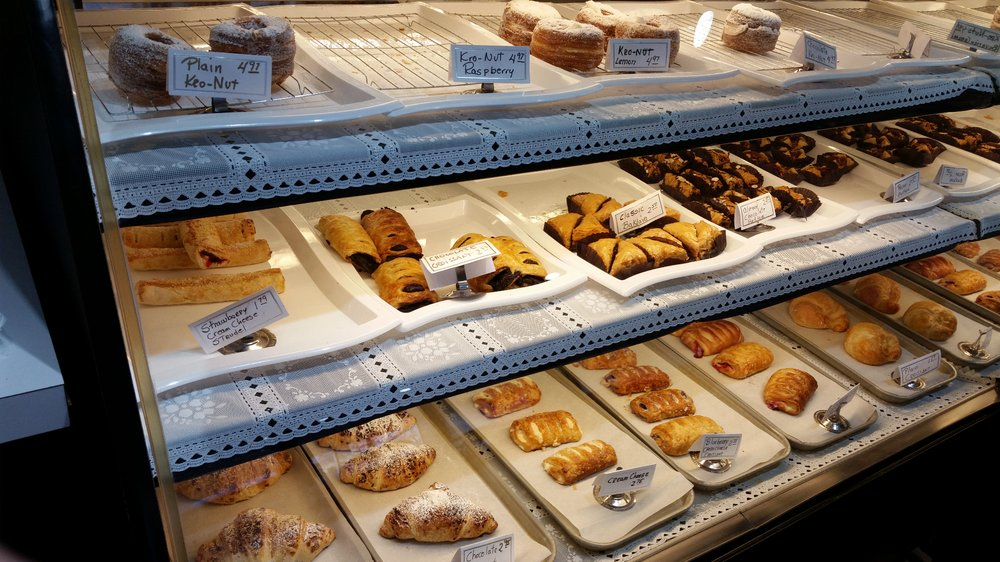 The bakery counter showcasing a variety of pastries