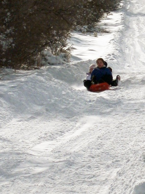 Sledders going down a hill