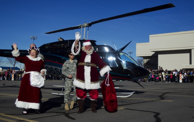 Santa arriving at University Mall in a helicopter
