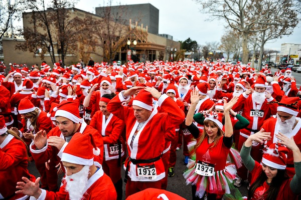 All the Santas running in Provo