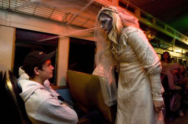 A corpse bride wanders through the Heber Creeper